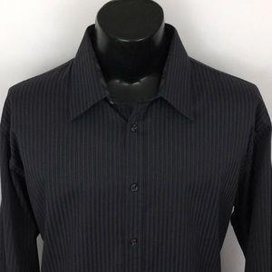 Jhane Barnes mens Slim Button Up Shirt Gray XXL